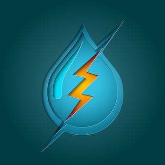 Simbolo di water bolt con stile di taglio carta multistrato profondo