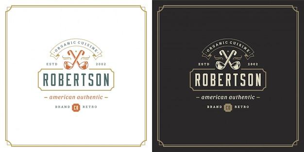 Simbolo e decorazione delle siviere della minestra dell'illustrazione del modello di logo del ristorante buoni per il segno del caffè e del menu.