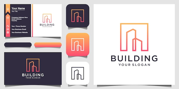 Simbolo edificio logo design con stile arte linea. città edificio astratto per logo design ispirazione e biglietto da visita