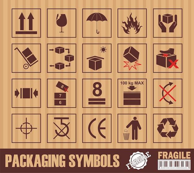 Simbolo fragile su cartone