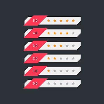 Simbolo geometrico di feedback con valutazione a stelle