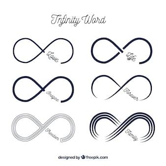 Simbolo infinito moderno con raccolta di parole