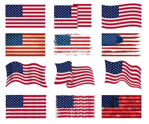 Simbolo nazionale americano di vettore della bandiera di usa degli stati uniti con l'illustrazione delle bande di stelle