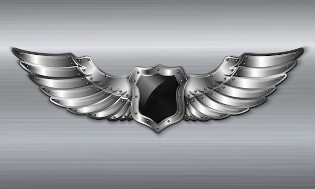 Simbolo nero in metallo a forma di scudo
