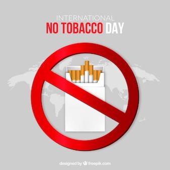 Simbolo proibita con il pacchetto di tabacco