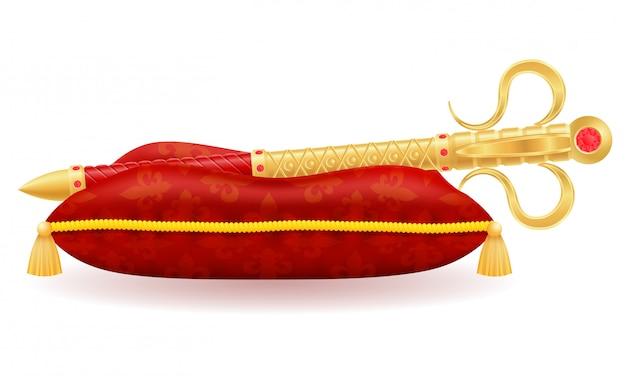 Simbolo reale dello scettro dorato di re dell'illustrazione di vettore di potere dello stato