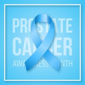 Simbolo realistico del nastro blu del mese di sensibilizzazione sul cancro alla prostata.