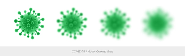 Simbolo verde di coronavirus. simbolo del virus isolato e sfocato su sfondo bianco. nuovo coronavirus 2019-ncov.