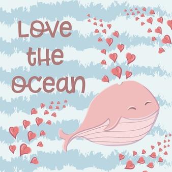 Simpatica balena nel mare con cuori nello stile di un cartone animato.