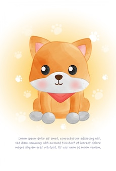 Simpatica carta per cani shiba inu in stile acquarello.