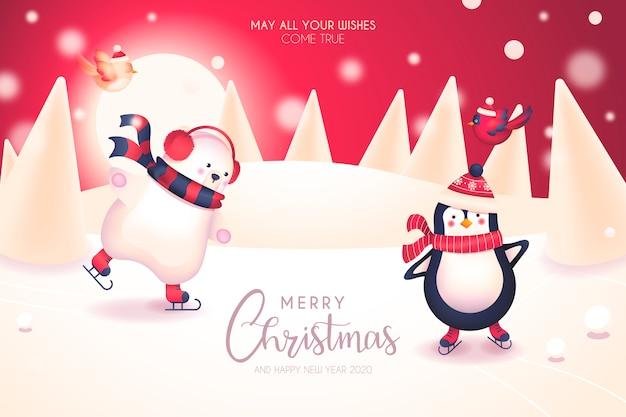 Simpatica cartolina di natale con simpatici personaggi invernali