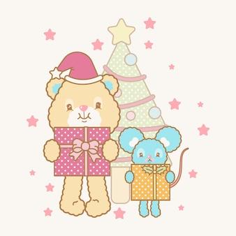 Simpatica cartolina di natale kawaii
