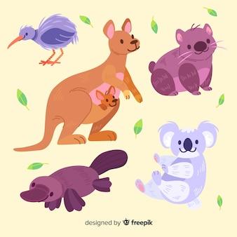 Simpatica collezione di animali con canguro