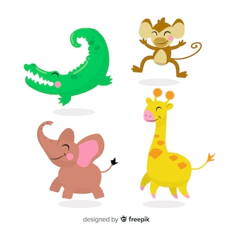 Simpatica collezione di animali con coccodrillo