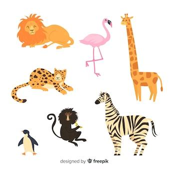 Simpatica collezione di animali con fenicottero
