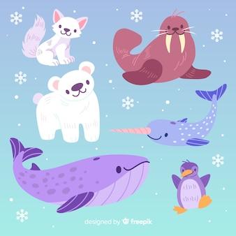 Simpatica collezione di animali con grande balena