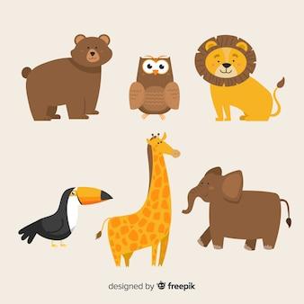Simpatica collezione di animali con leone