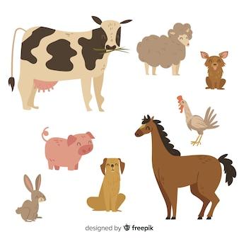 Simpatica collezione di animali con mucca