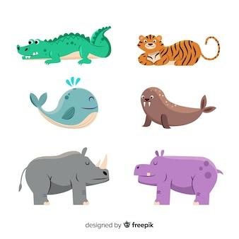 Simpatica collezione di animali con rinoceronte