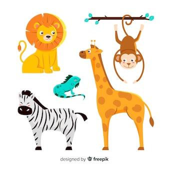 Simpatica collezione di animali con zebra