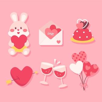 Simpatica collezione di elementi per san valentino