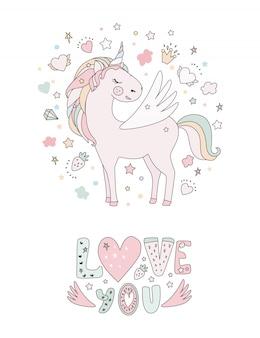 Simpatica collezione di magia con unicorno, arcobaleno, ali di fata, srat e ali