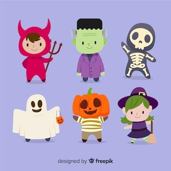 Simpatica collezione di personaggi di halloween in design piatto