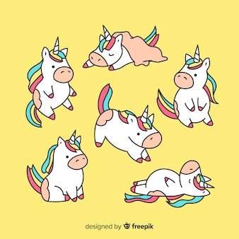 Simpatica collezione di personaggi kawaii unicorno