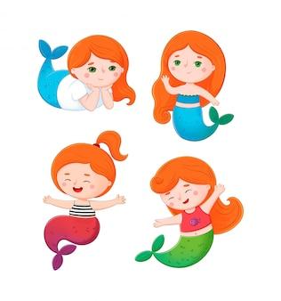 Simpatica collezione di sirenette dai capelli rossi