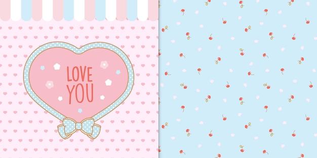 Simpatica cornice a forma di cuore kawaii con cuori e ciliegie seamless trasparente