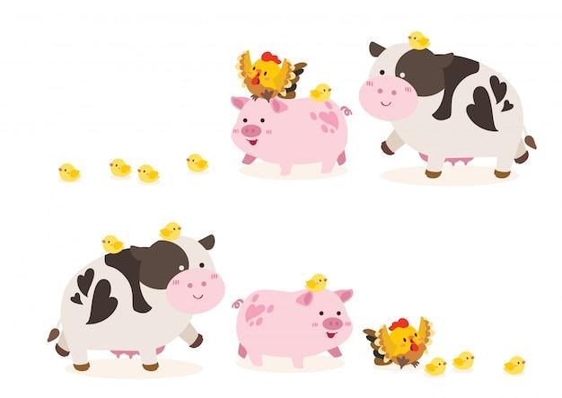 Simpatica fattoria degli animali; mucca, maiale, illustrazione di pollo