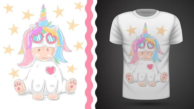 Simpatica idea di unicorno per t-shirt stampata