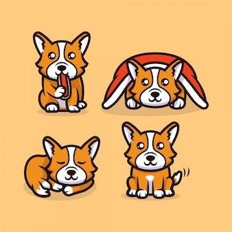 Simpatica mascotte di cane kawaii corgi