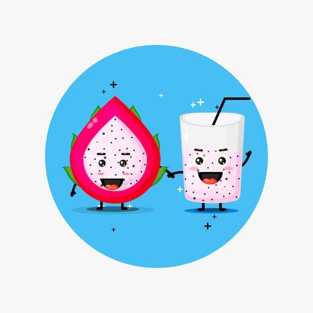 Simpatica mascotte di frutta drago e succo di frutta drago tenendosi per mano