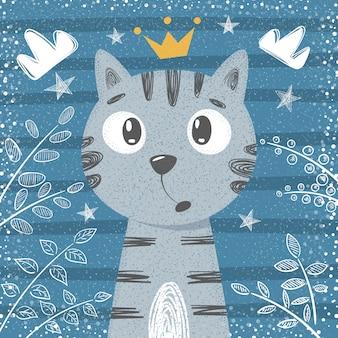 Simpatica piccola principessa - personaggi di gatto.