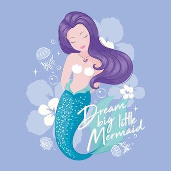 Simpatica sirena con meduse e fiori