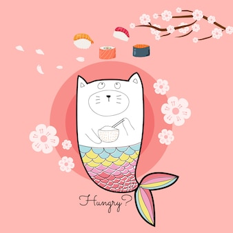 Simpatica sirena da gatto con colori pastello