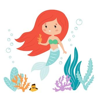 Simpatica sirena kawaii cartoon con alghe e corallo.