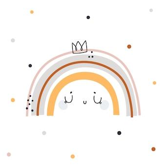 Simpatica stampa infantile con piccolo arcobaleno. illustrazione dell'acquazzone di bambino