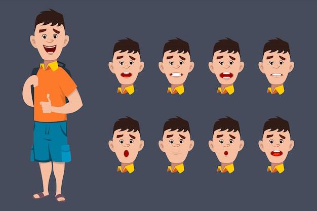 Simpatiche espressioni del personaggio di school boy per l'animazione e il movimento