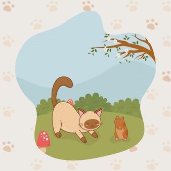 Simpatiche mascotte di gattino e cavia