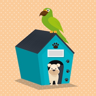 Simpatiche mascotte e icone del negozio di animali