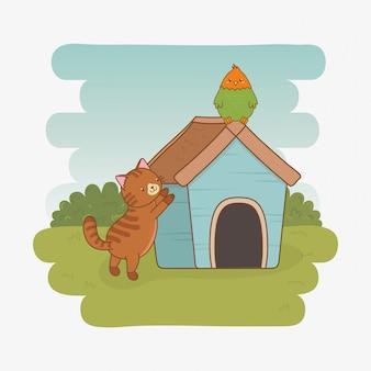 Simpatiche mascotte gattino e pappagallo