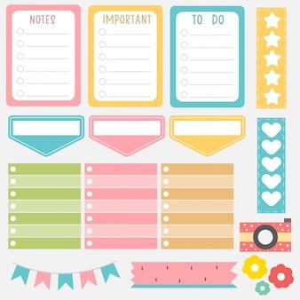 Simpatiche note di carta in set di colori dolci. adesivi planner stampabili. modello per il tuo messaggio. progettazione decorativa