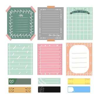 Simpatiche note e diario. set di carte vettoriali romantici e carini, note, adesivi, etichette.