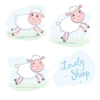 Simpatiche pecore in stile piatto.