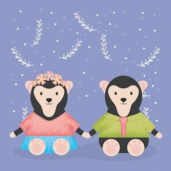 Simpatiche scimmie coppia con personaggi vestiti