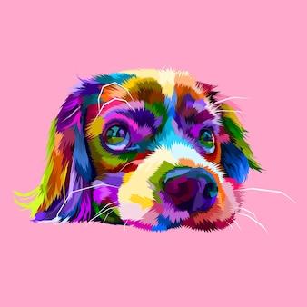 Simpatiche teste di cani pigri in stili geometrici pop art