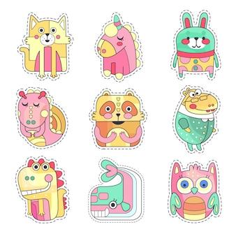 Simpatiche toppe di stoffa colorate con animali e uccelli insieme, ricamo o applique per decorazioni per bambini illustrazioni di cartoni animati di abbigliamento
