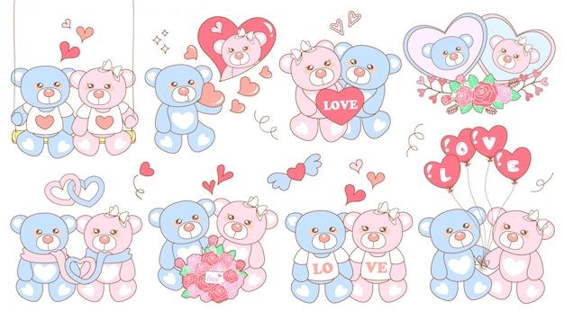 Simpatici adesivi con orso nel giorno dell'amore
